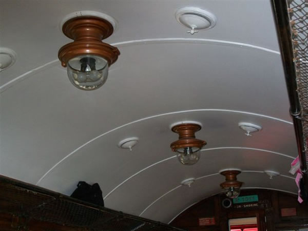 The beautiful original lamps in the carriage
